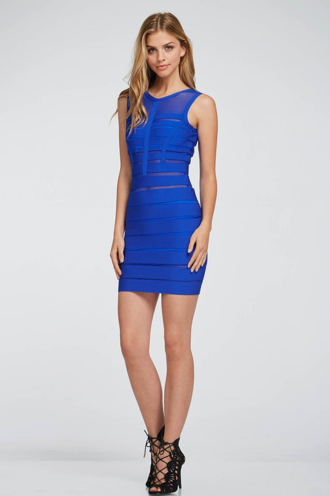 Blue Meshed Bandaged Dress Front 2