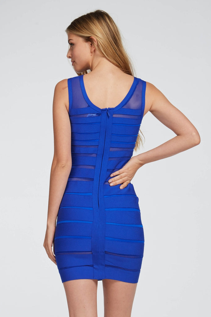 Blue Meshed Bandaged Dress Back