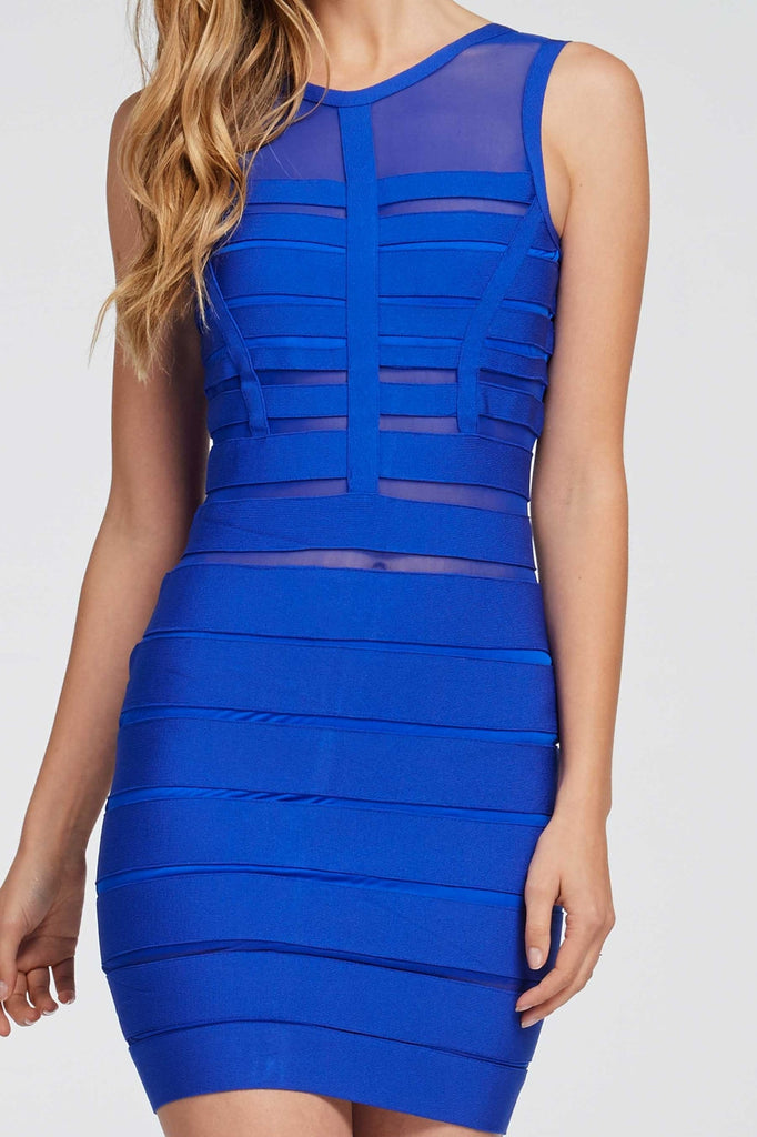 Blue Meshed Bandaged Dress Front Close Up