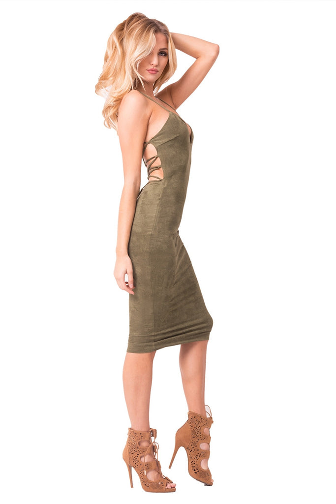 Olive Faux Suede Midi Dress Right Side