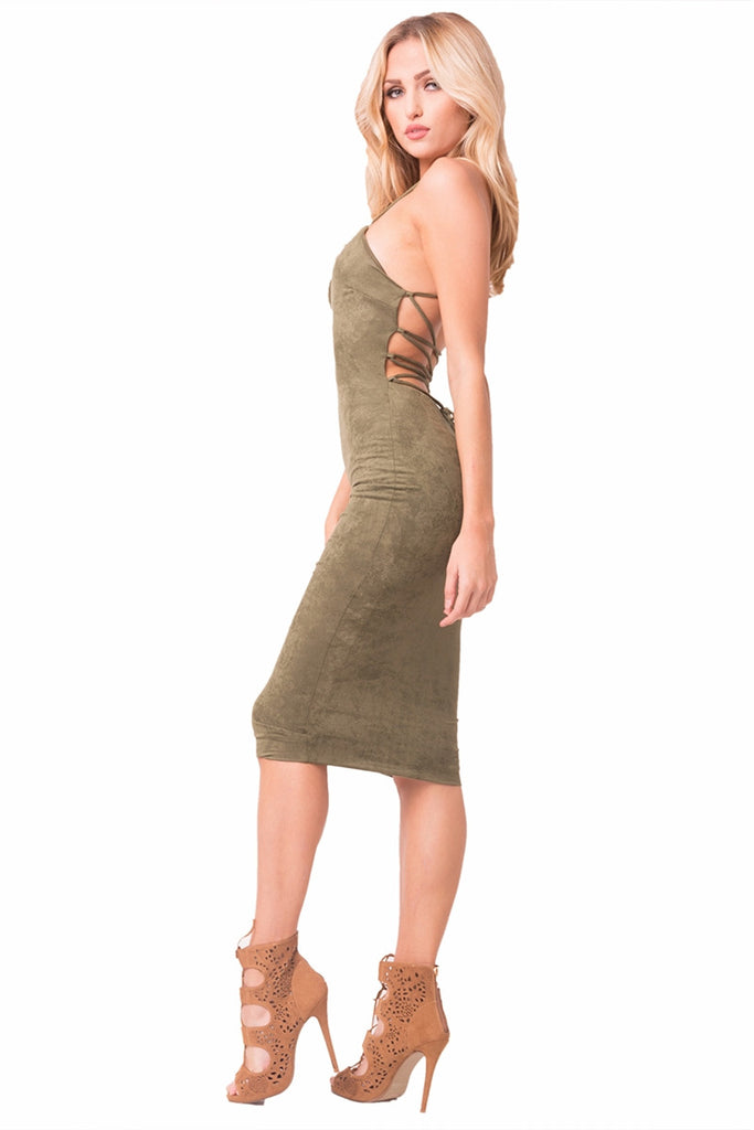 Olive Faux Suede Midi Dress Left Side