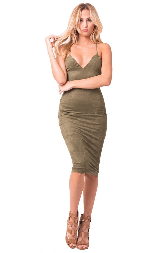 Olive Faux Suede Midi Dress Front