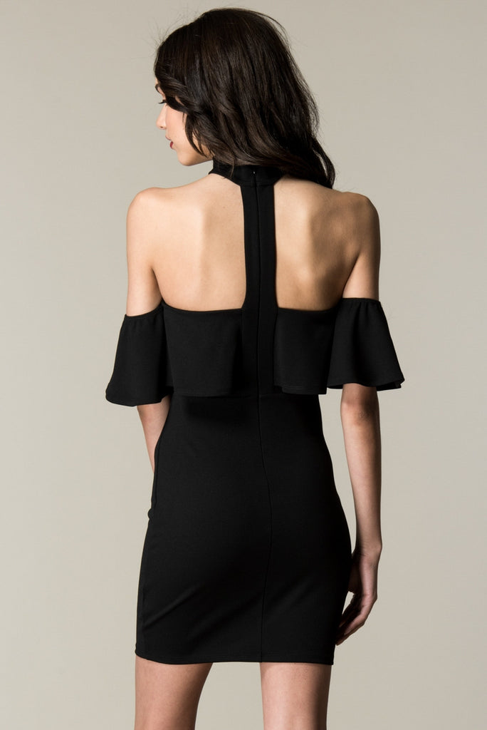 Black Choker Neck Ruffled Top Dress Rear