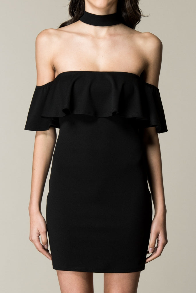 Black Choker Neck Ruffled Top Dress Front Close Up