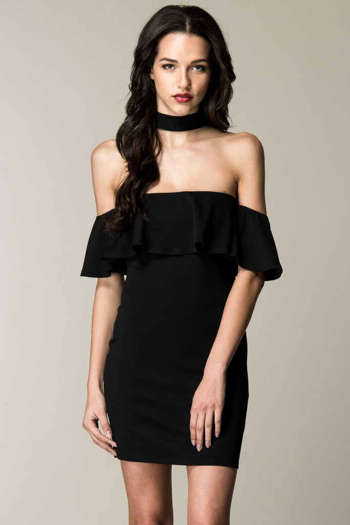Black Choker Neck Ruffled Top Dress Front
