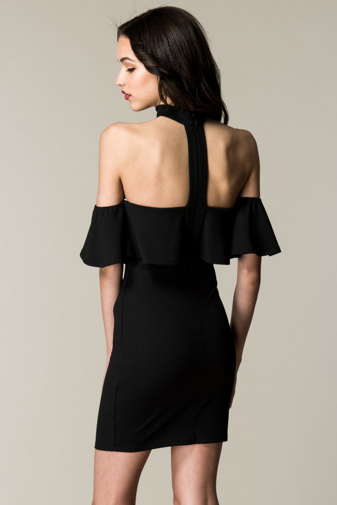 Black Choker Neck Ruffled Top Rear Angle