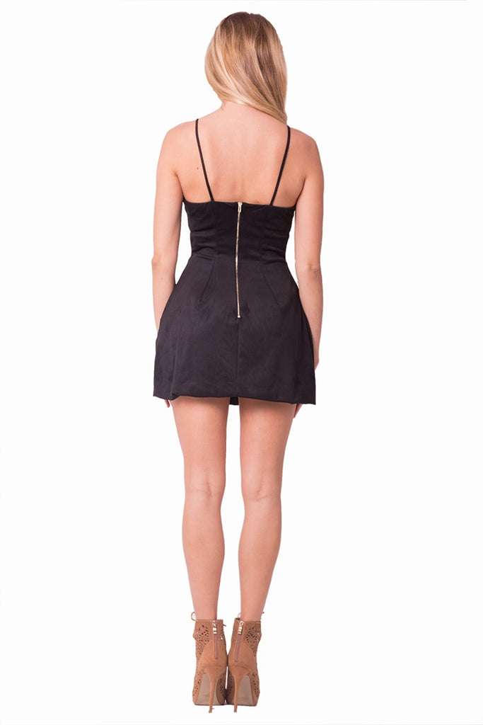 Black Suede Mini Dress Back
