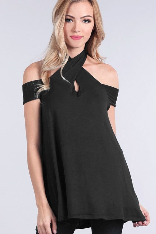 Black Wrapped-Neck Off The Shoulder Top Front