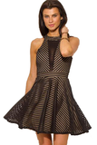 Black Mesh Mini Skirt Dress Front