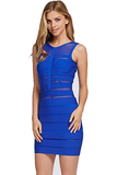 Blue Meshed Bandaged Dress Front