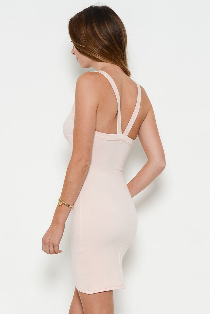 blush fitted dress back
