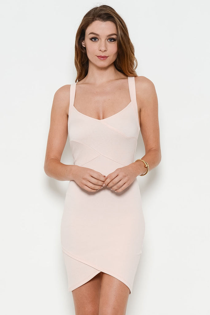 blush fitted dress front
