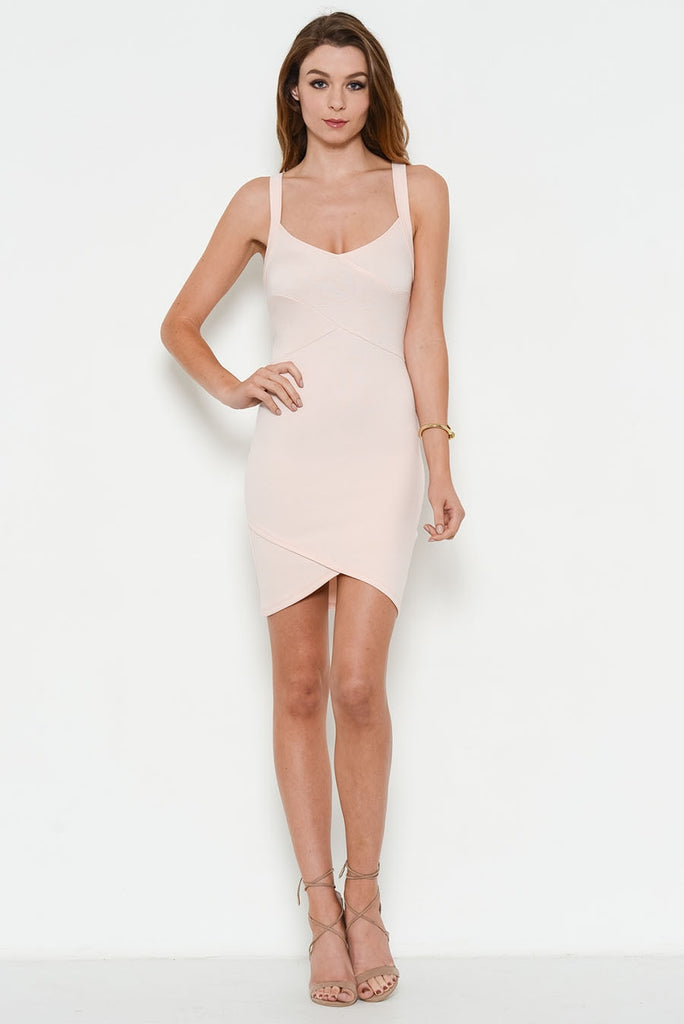 blush fitted dress full body