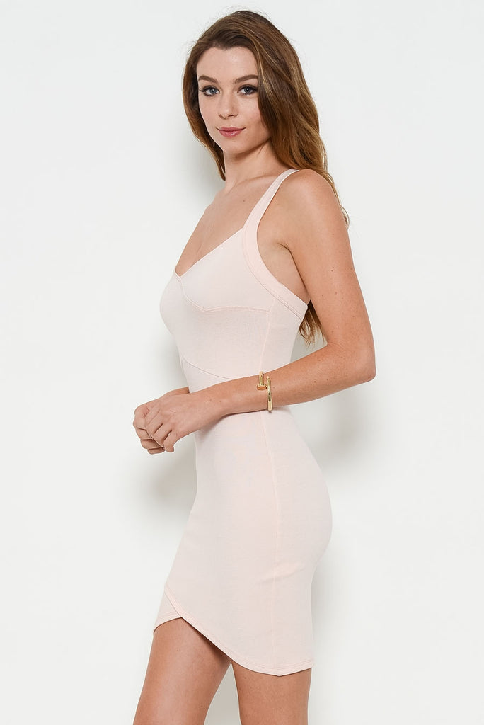 blush fitted dress side