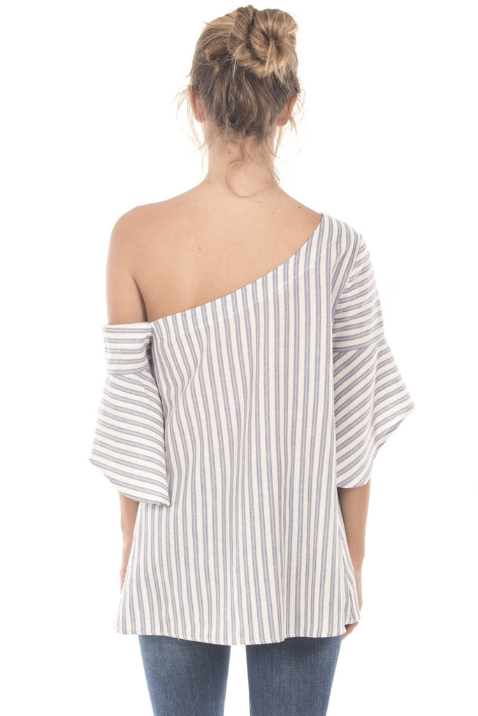 One Shoulder Striped Bell Sleeve Tunic Back