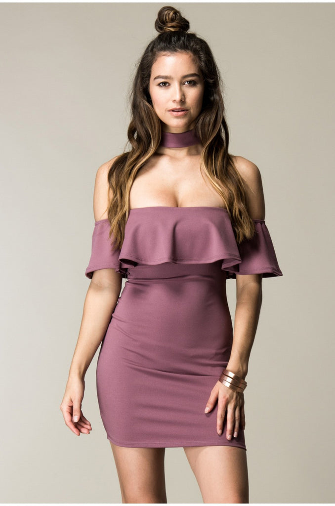 Mauve Choker Neck Ruffle Top Dress Front
