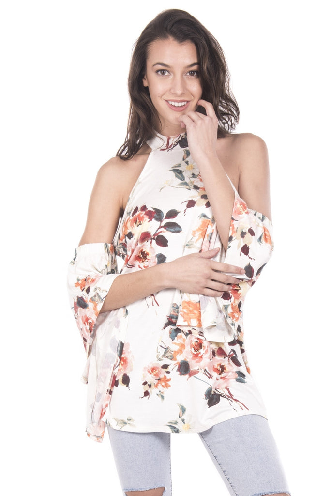 Floral Cold Shoulder Bell Sleeve with A-Line Top Front