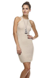 Halter Neckline Cream Knit Dress Front