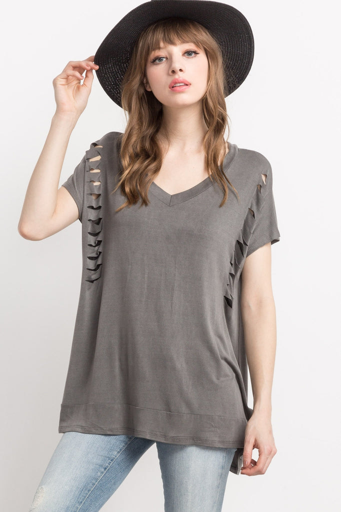 Grey Cutout, Detailed, V-neck Top Front