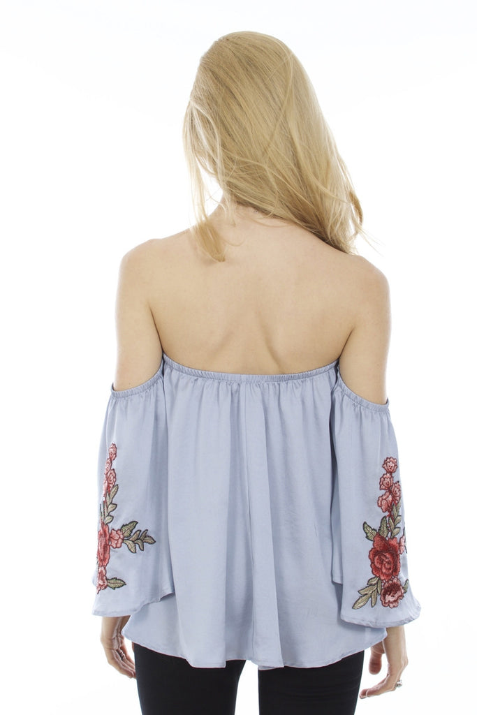 Floral Print Off Shoulder Embroidered Top Back