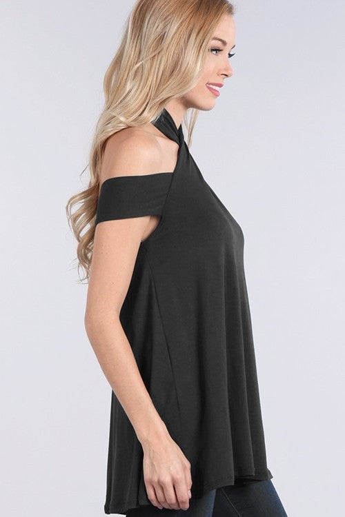 Black Wrapped-Neck Off The Shoulder Top Right Side