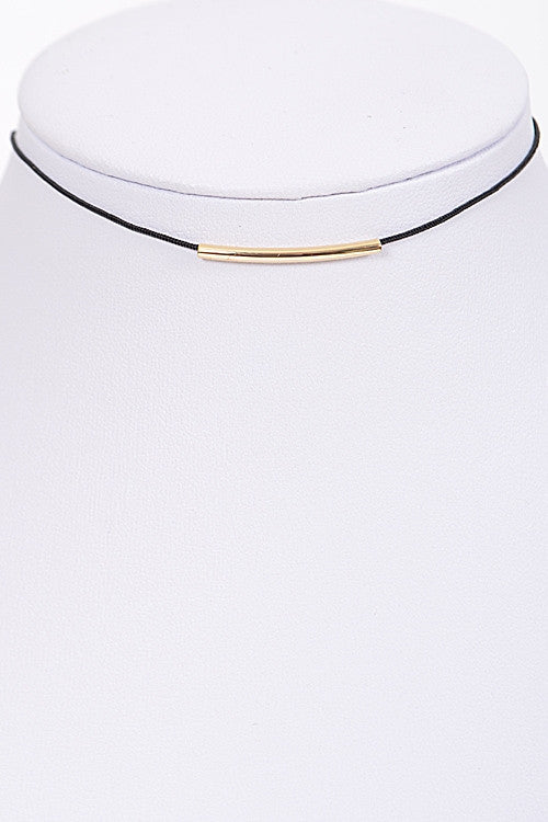 Thin Bar Choker Necklace Front