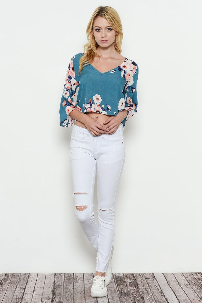 Flower Print Wide Sleeve Top Front
