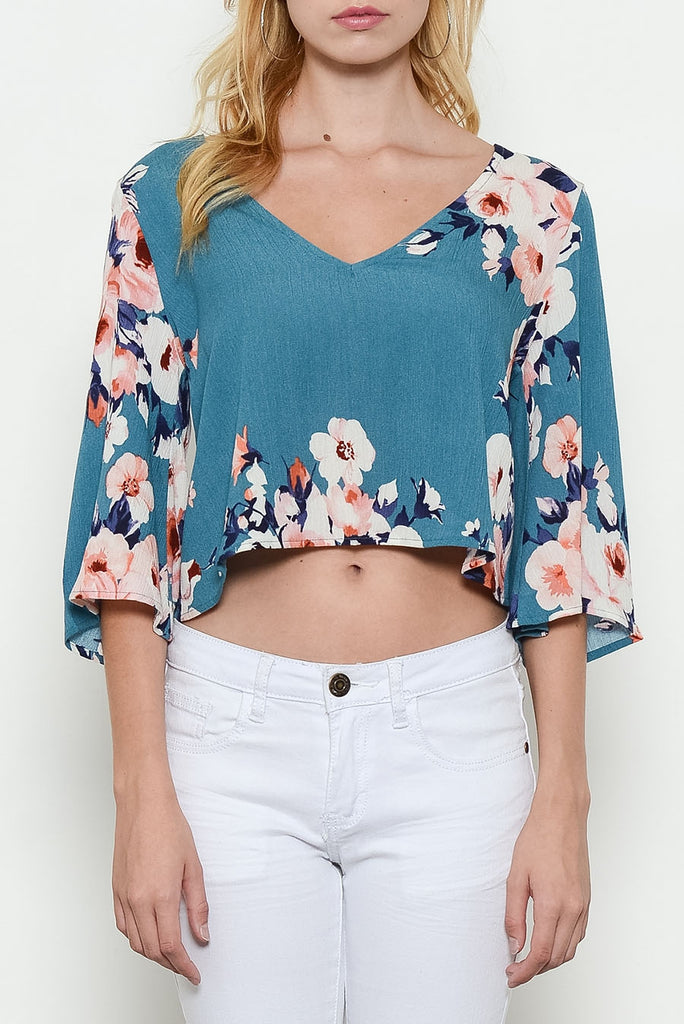 Flower Print Wide Sleeve Top Front Close Up