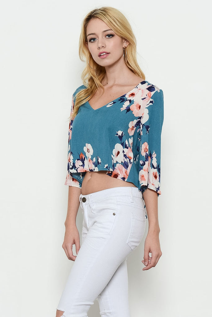 Flower Print Wide Sleeve Top Left Side