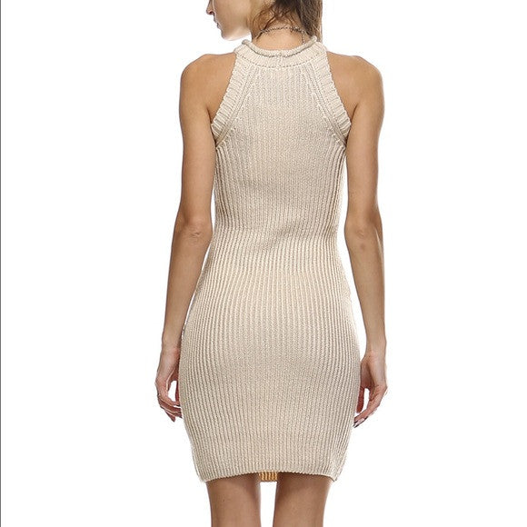 Halter Neckline Cream Knit Dress Back