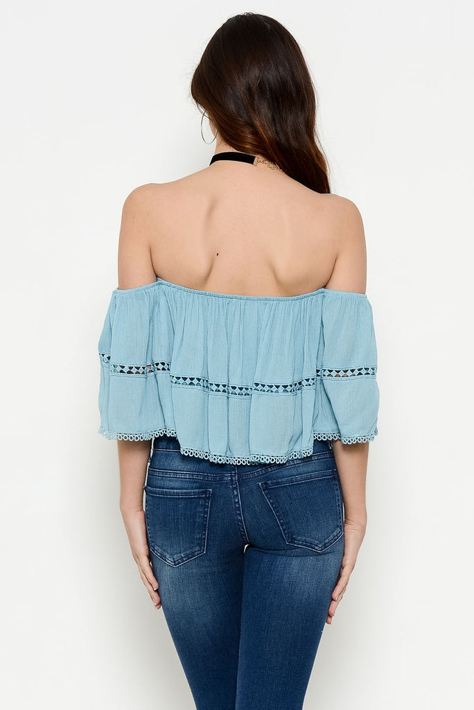 Off The Shoulder Crop Top With Lace Trim Back