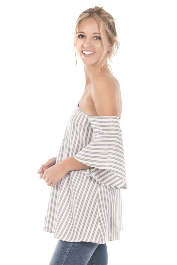 One Shoulder Striped Bell Sleeve Tunic Top Left Side