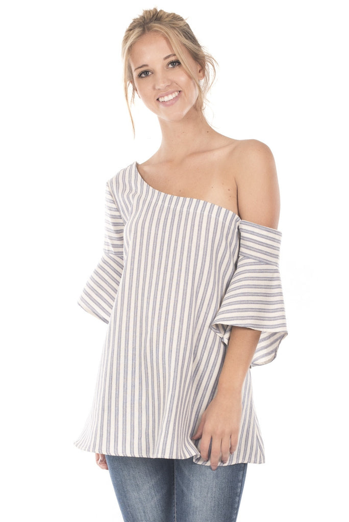 One Shoulder Striped Bell Sleeve Tunic Top Front 2