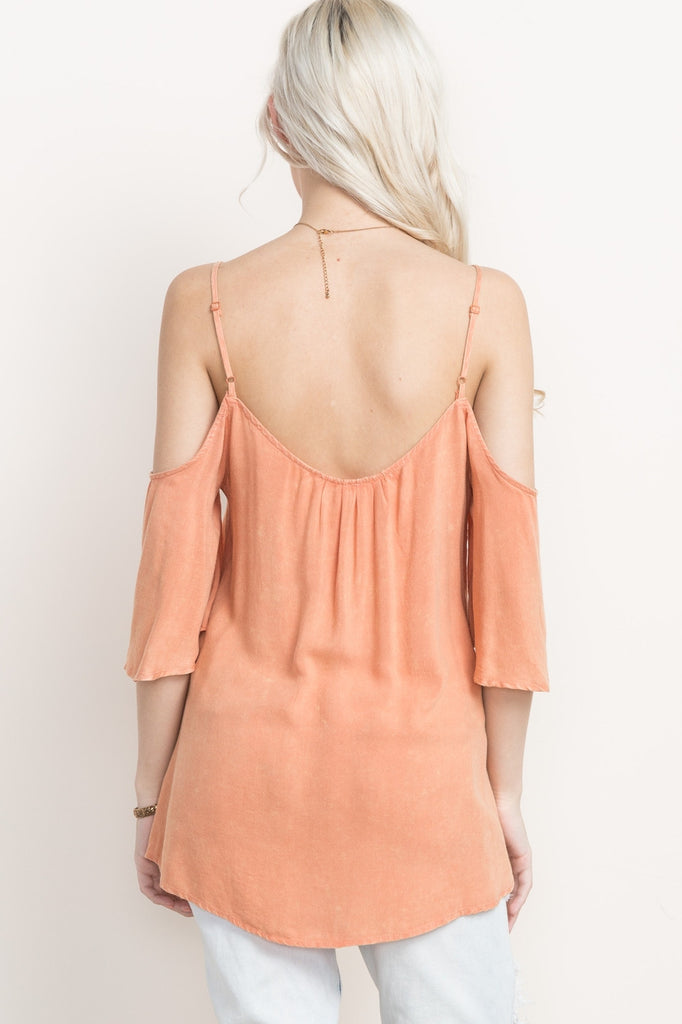 Peach Lace Up Cold Shoulder Top Back