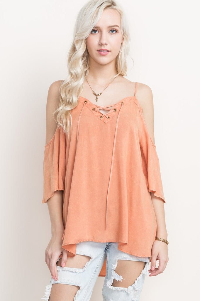 Peach Lace Up Cold Shoulder Top Front