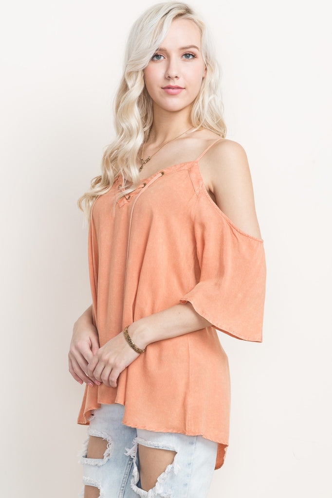 Peach Lace Up Cold Shoulder Top Front Angled