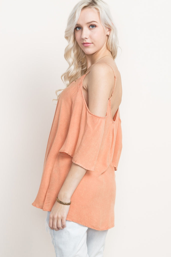 Peach Lace Up Cold Shoulder Top Side
