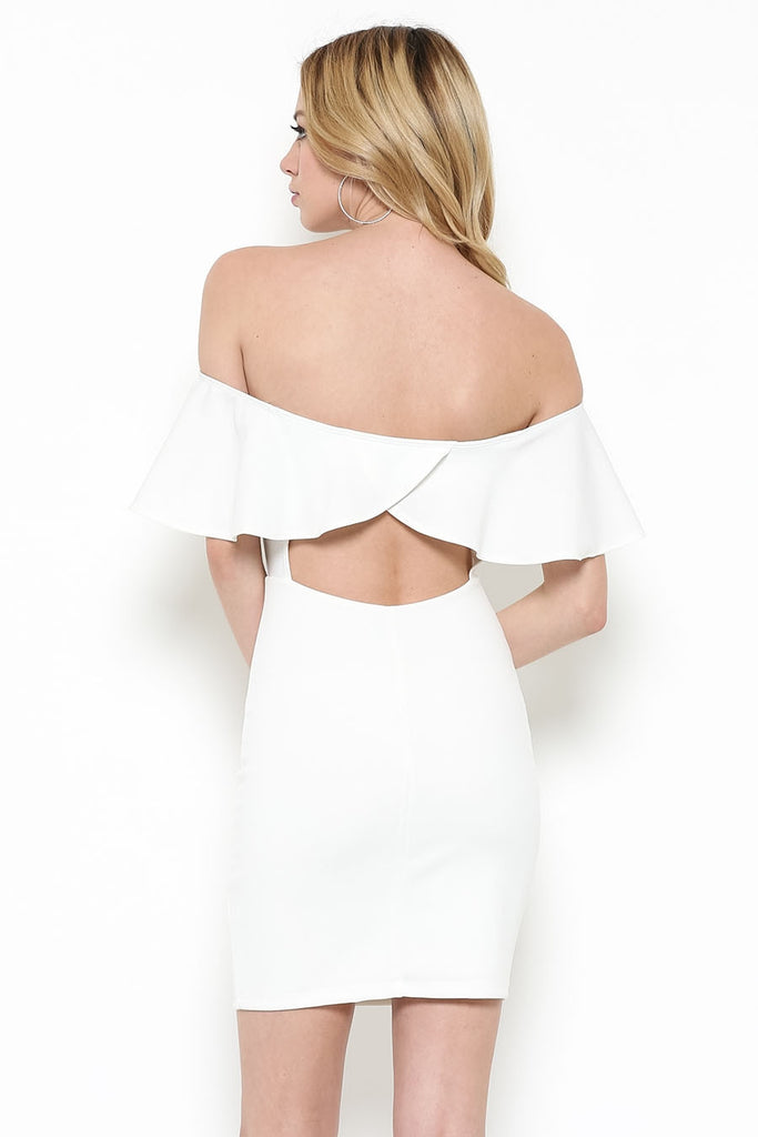 Ivory Knit Ruffle Fitted Dress Back