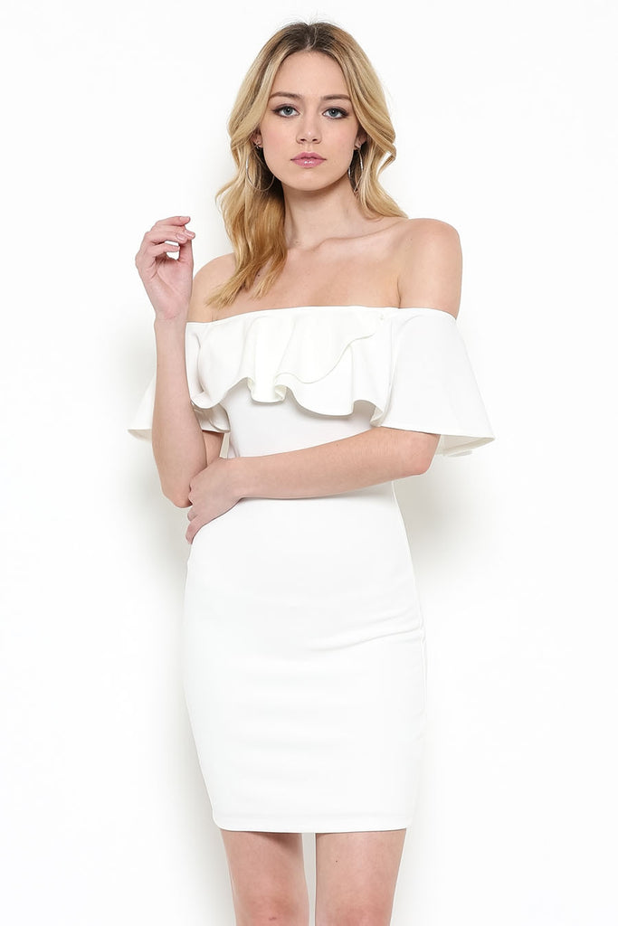 Ivory Knit Ruffle Fitted Dress Front