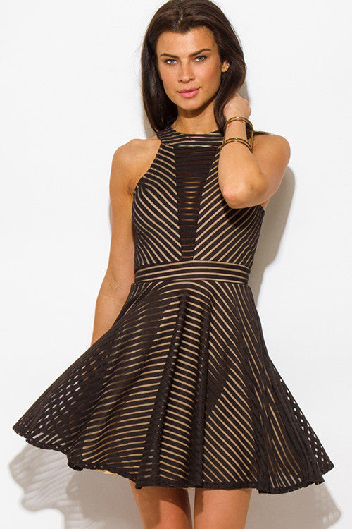 Black Mesh Mini Skirt Dress Front 2