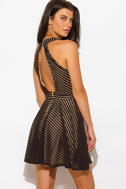 Black Mesh Mini Skirt Dress Back Right