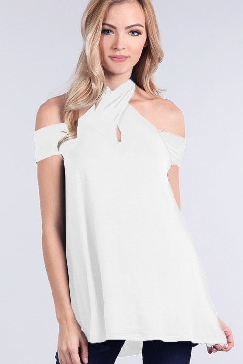 White Wrapped-Neck Off The Shoulder Top
