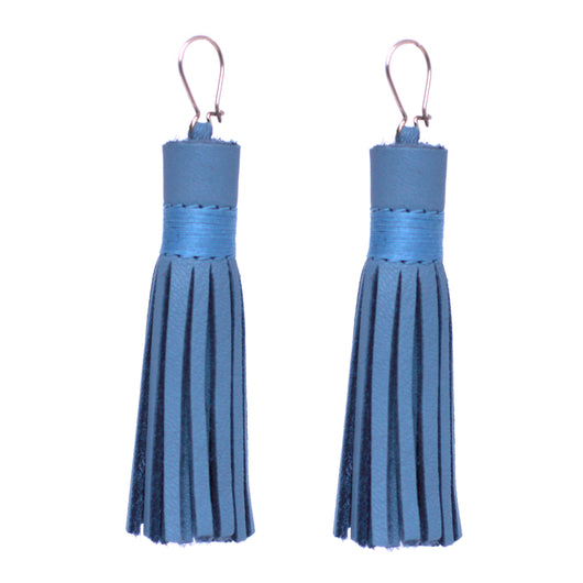 Droplet-Baby-blue-leather-tassel-earrings