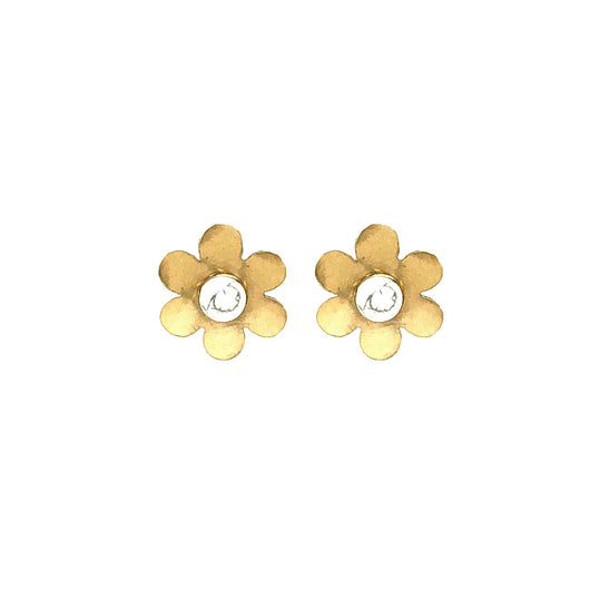 Cities in Dust Brass Daisy Earrings with White Stone