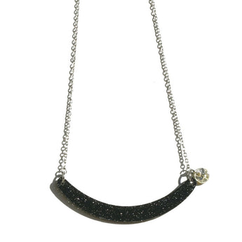 Cresent Moon Necklace - Black/Gold