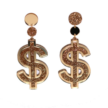 yippywhippy gold glitter metallic dollar sign statement earrings