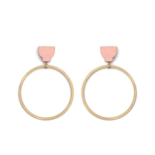 Martha Jean Hoop Earrings Pink Brass