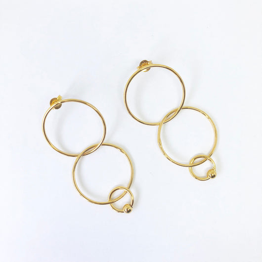 Tilly Mini Multi Love Earrings Gold