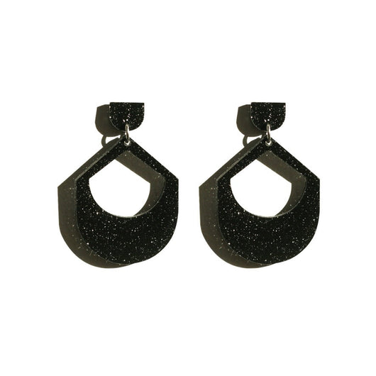 Large Drop Earrings - Black