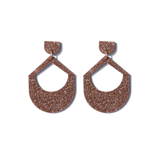 Large Drop Earrings - Copper Glitter